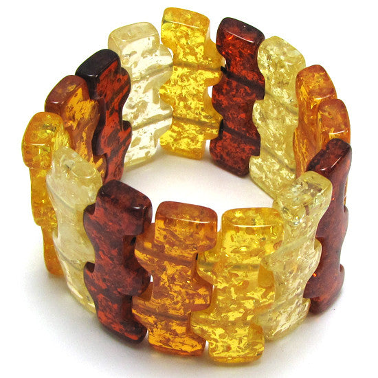 45mm multicolor synthetic honey amber stretch bracelet 8""