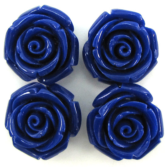 8 24mm synthetic coral carved rose flower pendant bead dark blue