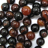 18mm black brown agate round beads 7.5