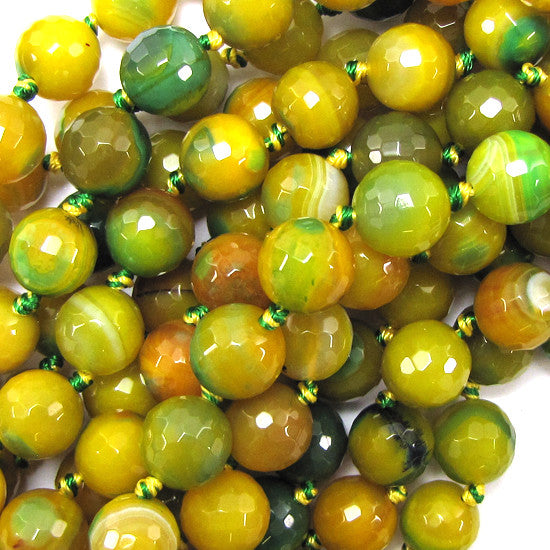 "12mm faceted agate round beads 7"" strand green yellow 12 pcs"