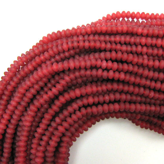 "5mm matte ruby red jade rondelle beads 15.5"" strand"