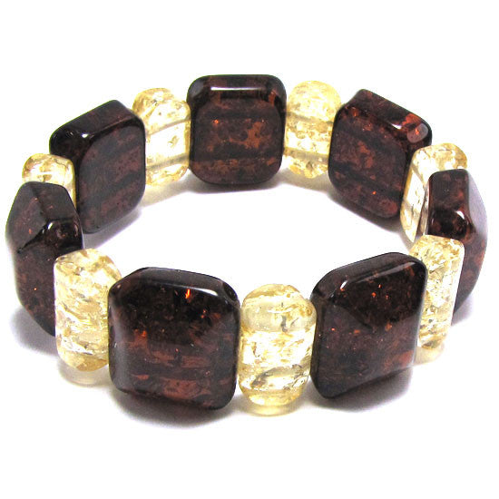 19x22mm synthetic multicolor amber bead stretch bracelet 8""