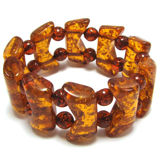 13x30mm synthetic honey amber bead stretch bracelet 8""