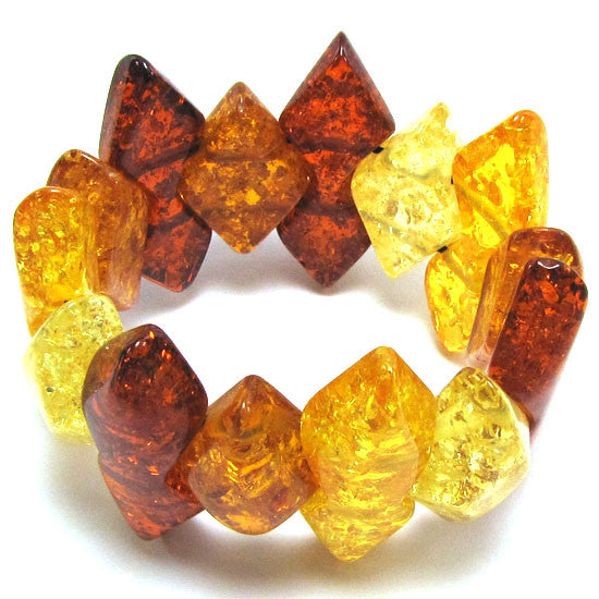 17x50mm synthetic multicolor honey amber bead stretch bracelet 8""