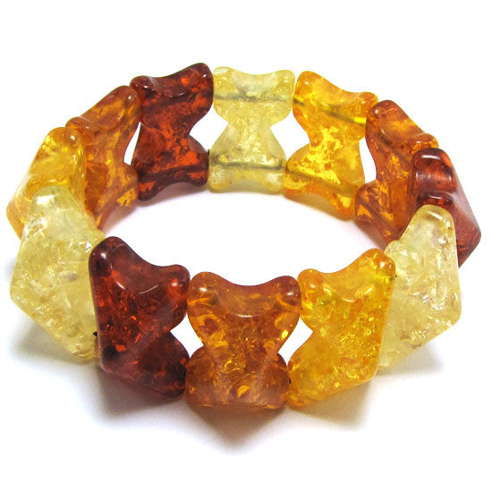 16x27mm synthetic multicolor honey amber bead stretch bracelet 8""
