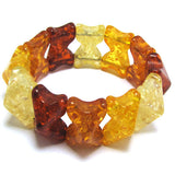 16x27mm synthetic multicolor honey amber bead stretch bracelet 8