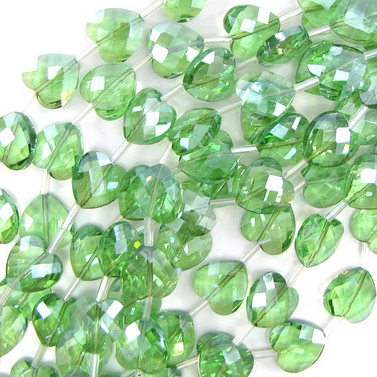 "6x14mm faceted crystal heart beads 7.5"" strand peridot"