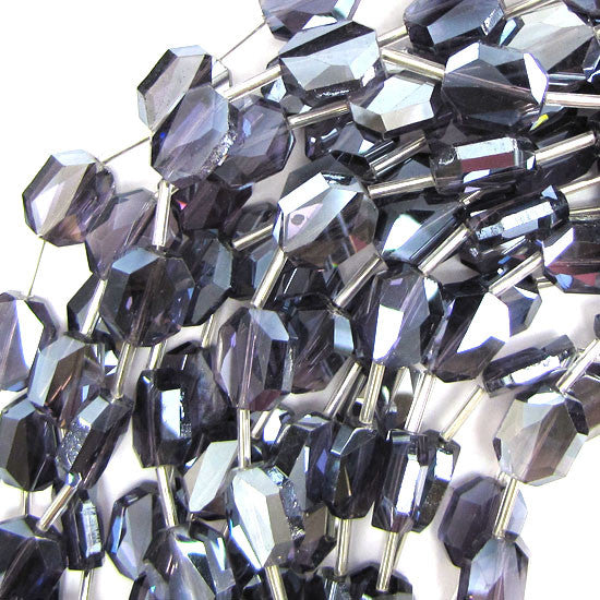"12x14mm faceted crystal rectangle beads 9"" strand purple 10pcs"