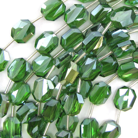 "14mm faceted crystal rectangle beads 9"" strand green 10pcs"