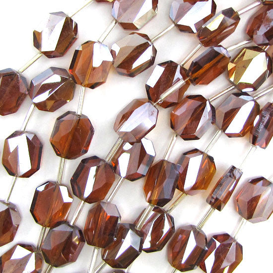 "12x14mm faceted crystal rectangle beads 9"" strand brown 10pcs"