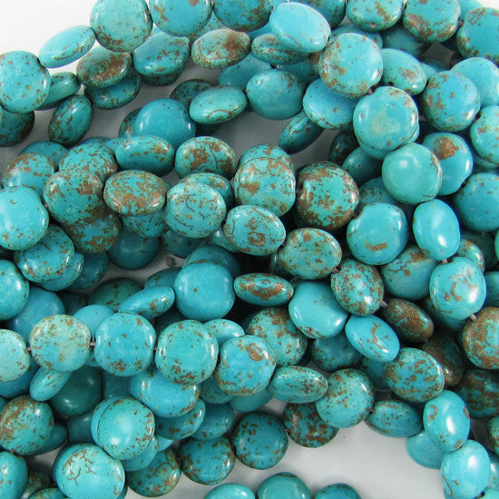 "10mm blue turquoise coin beads 15"" strand S2"