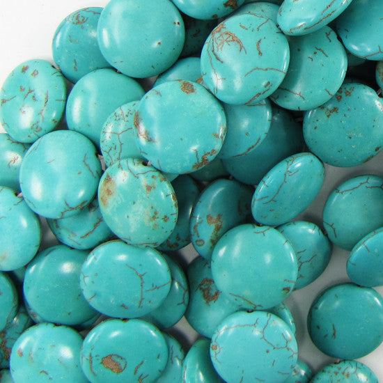 "20mm blue turquoise coin gemstone beads 16""strand S1"