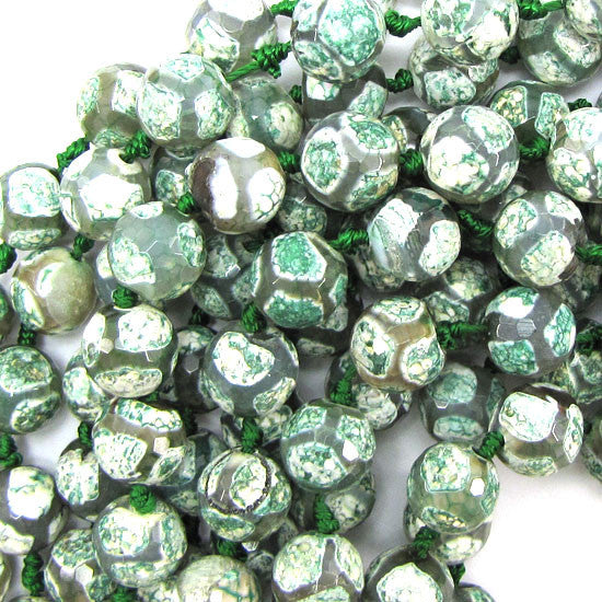 "12mm faceted agate round beads 7"" strand green white 12pcs"