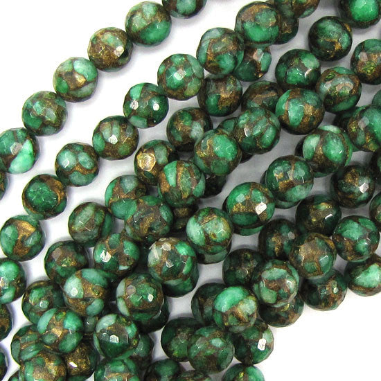 "10mm faceted emerald green golden pressed jade round 7.5"" strand 20 pcs"