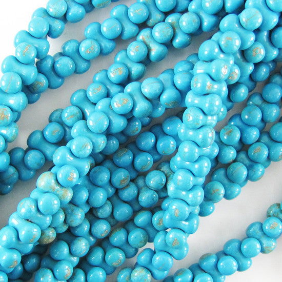 "14mm blue turquoise cylinder beads 16"" strand S2"