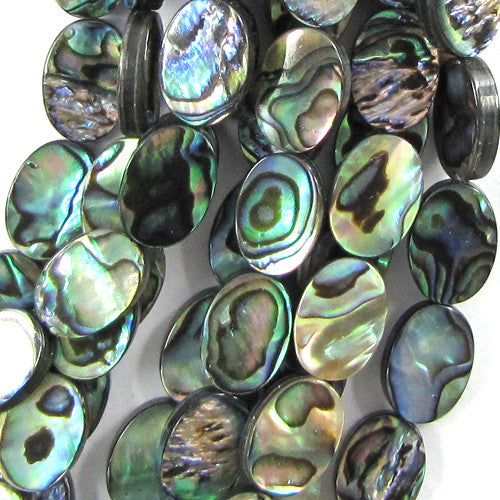"14mm abalone shell flat oval beads 16"" strand"