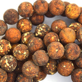 10mm matte brown Tibetan DZI agate round beads 15