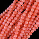 4mm pink coral round beads 16
