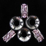 6 10mm silver plated rhinestone rondelle beads pink findings