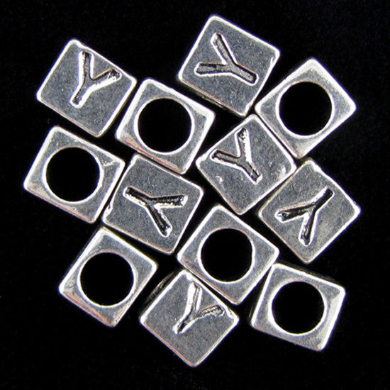 "20 7mm pewter alphabet cube bead letter ""Y"" findings"