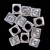 20 7mm pewter alphabet cube bead letter