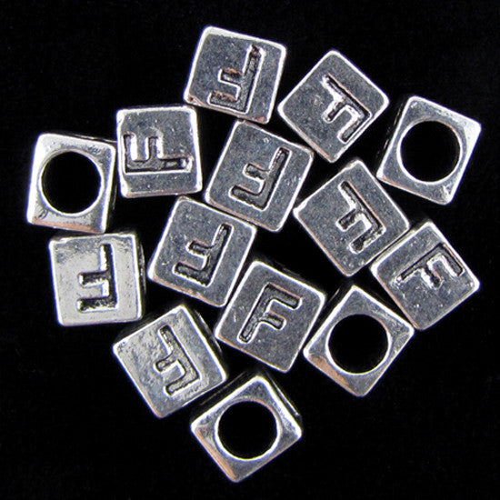 "20 7mm pewter alphabet cube bead letter ""F"" findings"