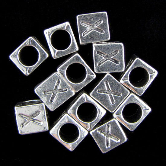 "20 7mm pewter alphabet cube bead letter ""X"" findings"