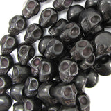 18mm black turquoise carved skull beads 15
