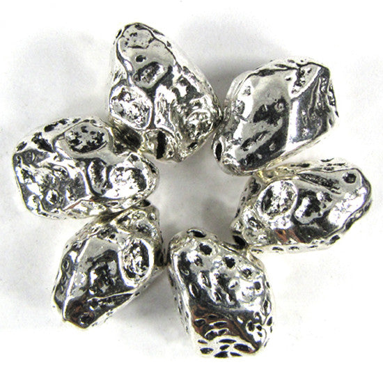 6 17mm silver plated pewter freeform nugget beads findings