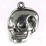 16 22mm silver plated pewter skull beads charm findings