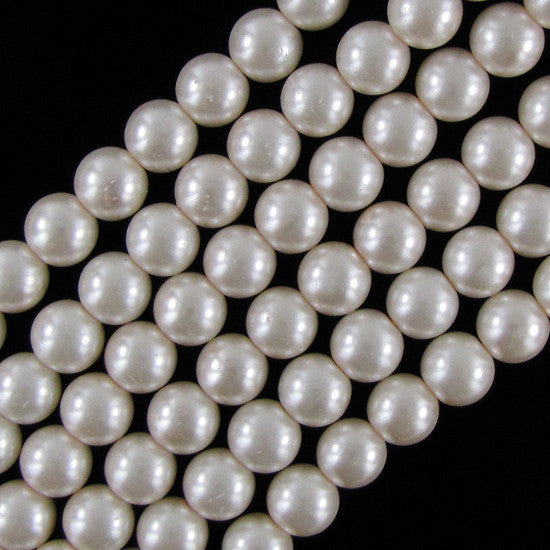 "12mm pink glass pearl round beads 16"" strand"