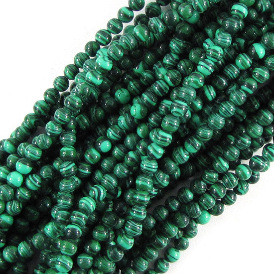 "4mm synthetic green malachite round beads 16"" strand"