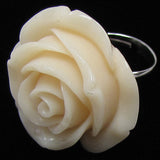 26mm synthetic coral carved rose flower adjustable ring size 5-7 white