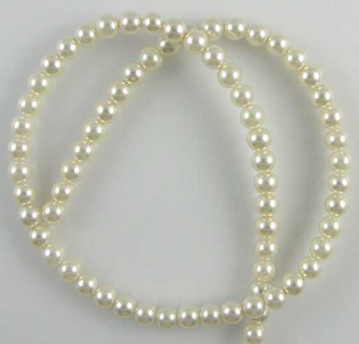 "6mm white glass pearl round beads 16"" strand"