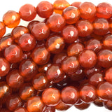 6mm faceted carnelian round beads 15