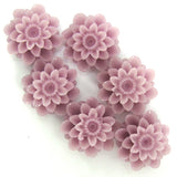6 pieces 18mm lavender synthetic coral carved chrysanthemum flower pendant bead