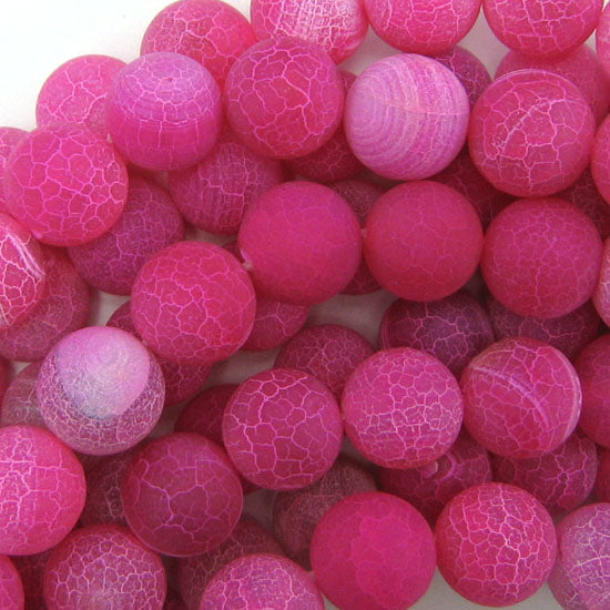 "14mm matte magenta fire agate round beads 15"" strand"