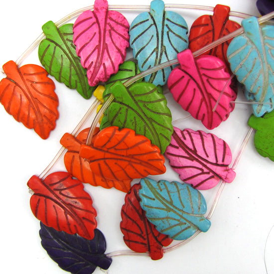 "40m multicolor turquoise leaf beads 16"" strand"