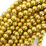 Bright Gold Metallic Hematite Round Beads 15.5