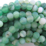 6mm matte green stripe agate round beads 15