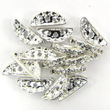 15 19mm silver plated rhinestone spacer bar beads findings