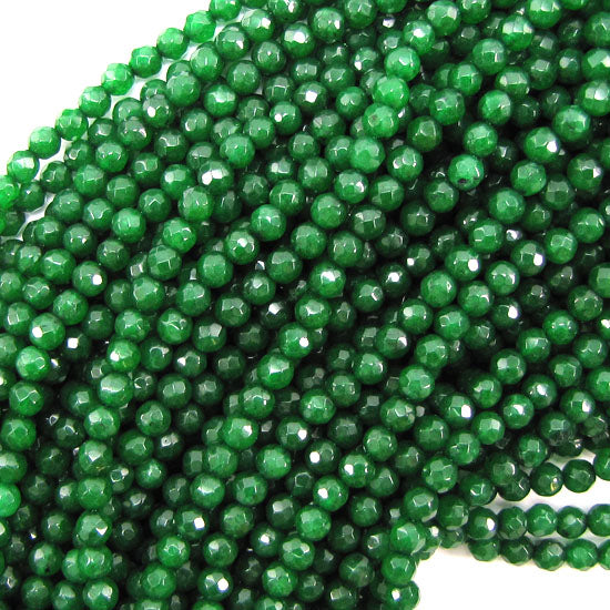 "Faceted Emerald Green Jade Round Beads 15"" Strand 3mm 4mm 6mm 8mm 10mm 12mm"