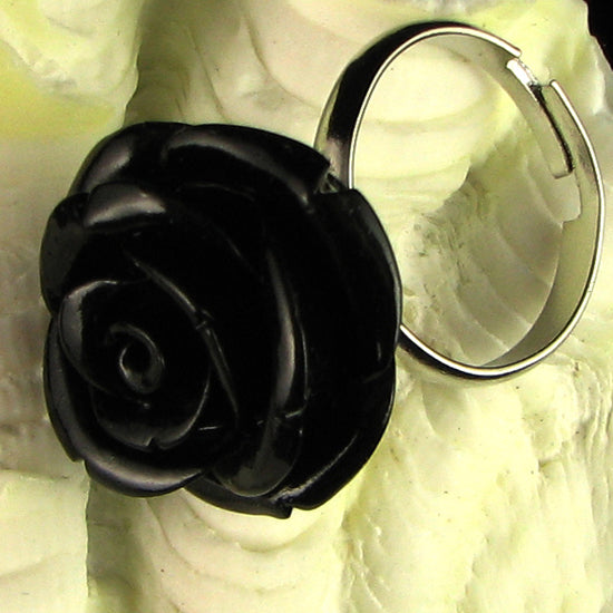 20mm black synthetic coral carved rose flower djustable ring size 5-7