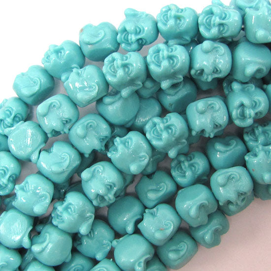 "12mm synthetic coral carved buddha beads 14"" strand blue"