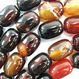 18mm black brown agate barrel beads 16