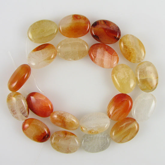 "18mm orange crab fire agate flat oval beads 14"" strand"