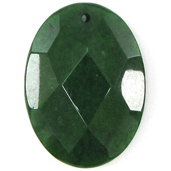 2 pieces 40mm faceted emerald green jade flat oval bead pendant