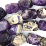 20mm faceted natural amethyst nugget beads 15.5