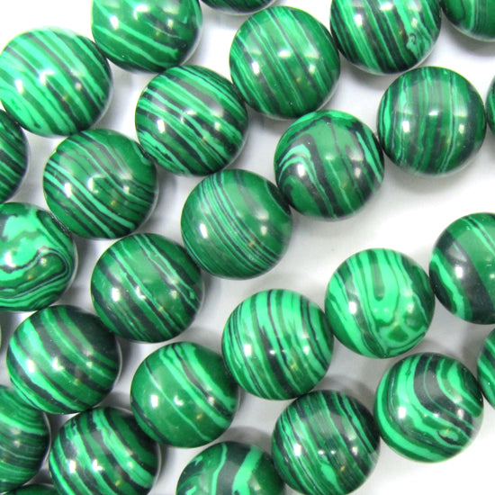 "12mm synthetic green malachite round beads 15.5"" strand S2"