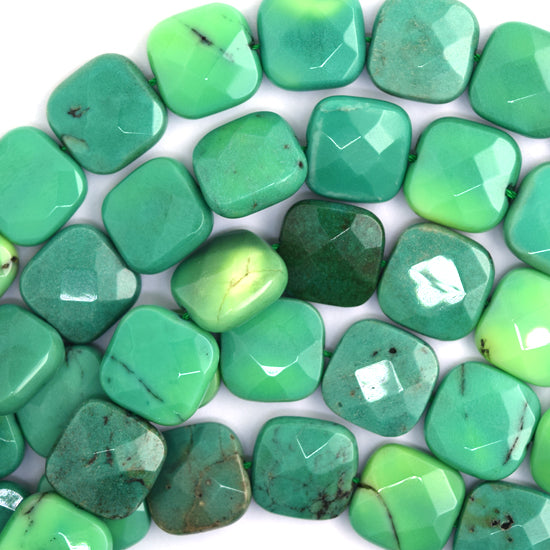 "15mm faceted green chrysoprase flat square beads 16"" strand"
